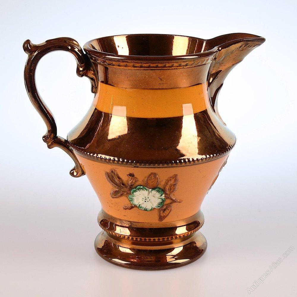 Antique Lustreware Mid Victorian, Ceramic Jug