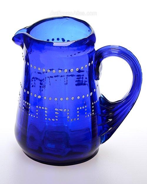 Antique Bristol Blue Glass Bristol Blue Glass Jug
