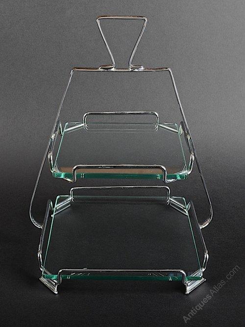 Art Deco Chrome Cake Stand : Antiques Atlas - Art Deco Glass And Chrome Cake Stand