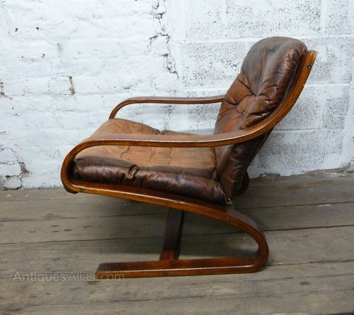 Merveilleux Danish Leather Bentwood Armchair Leather Chairs ...