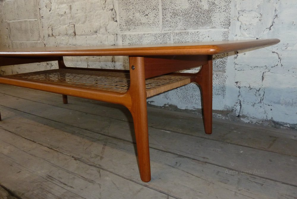 Antiques Atlas - Danish Teak Coffee Table With Cane ...
