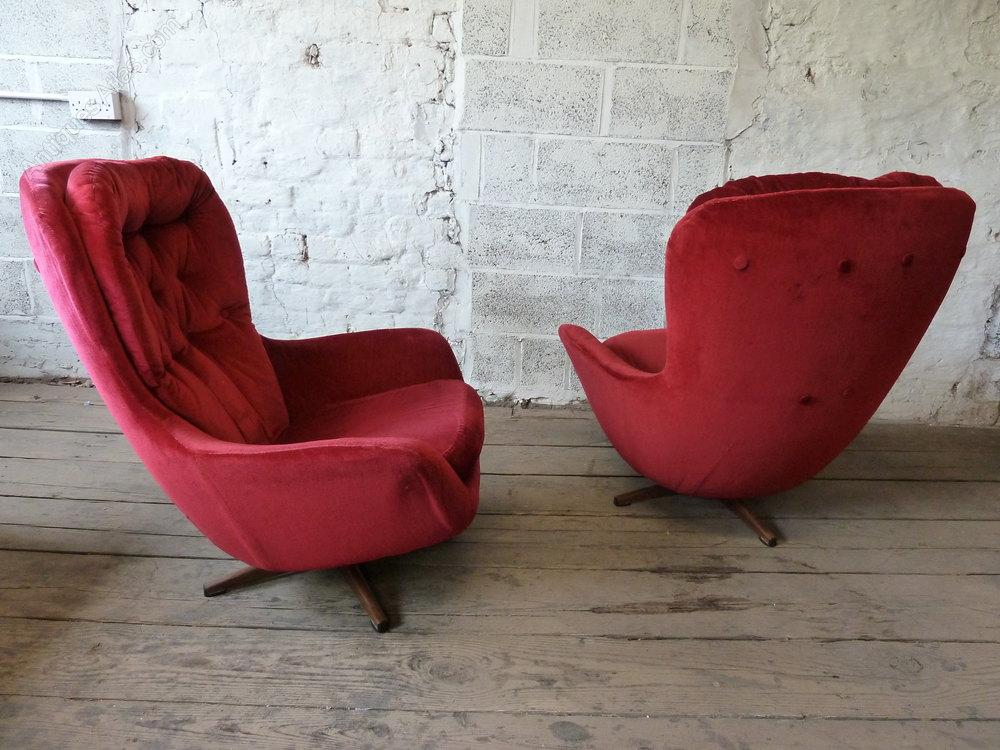 Red Velvet Revolving Egg Chairs Vintage Swivel And