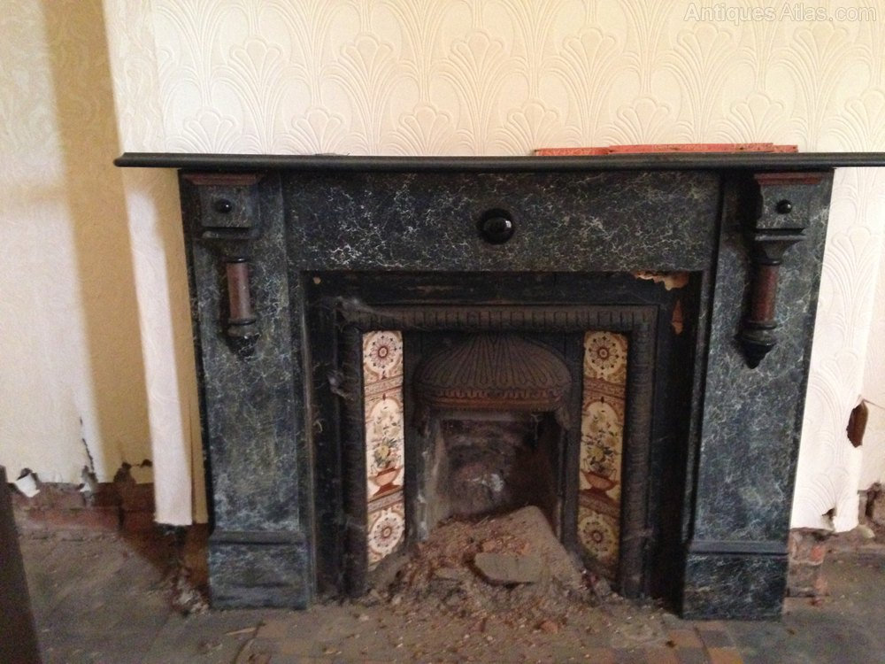 Victorian Painted Slate Fire Surround Marbleized Antique Fireplaces