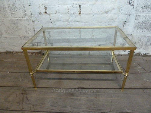 Vintage Brass Coffee Table With Glass Shelves ...