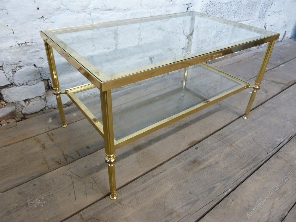 Antiques Atlas Vintage Brass Coffee Table With Glass Shelves