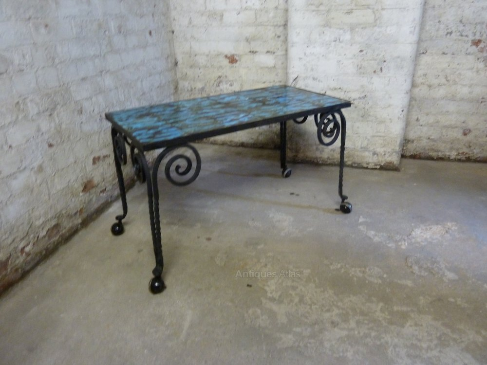 Wrought Iron Conservatory Tiled Coffee Table 1950s