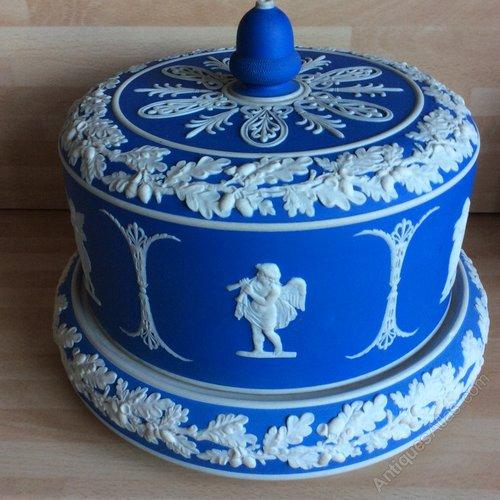 Antiques Atlas - LARGE JASPERWARE CHEESE DOME PALE BLUE DUDSON
