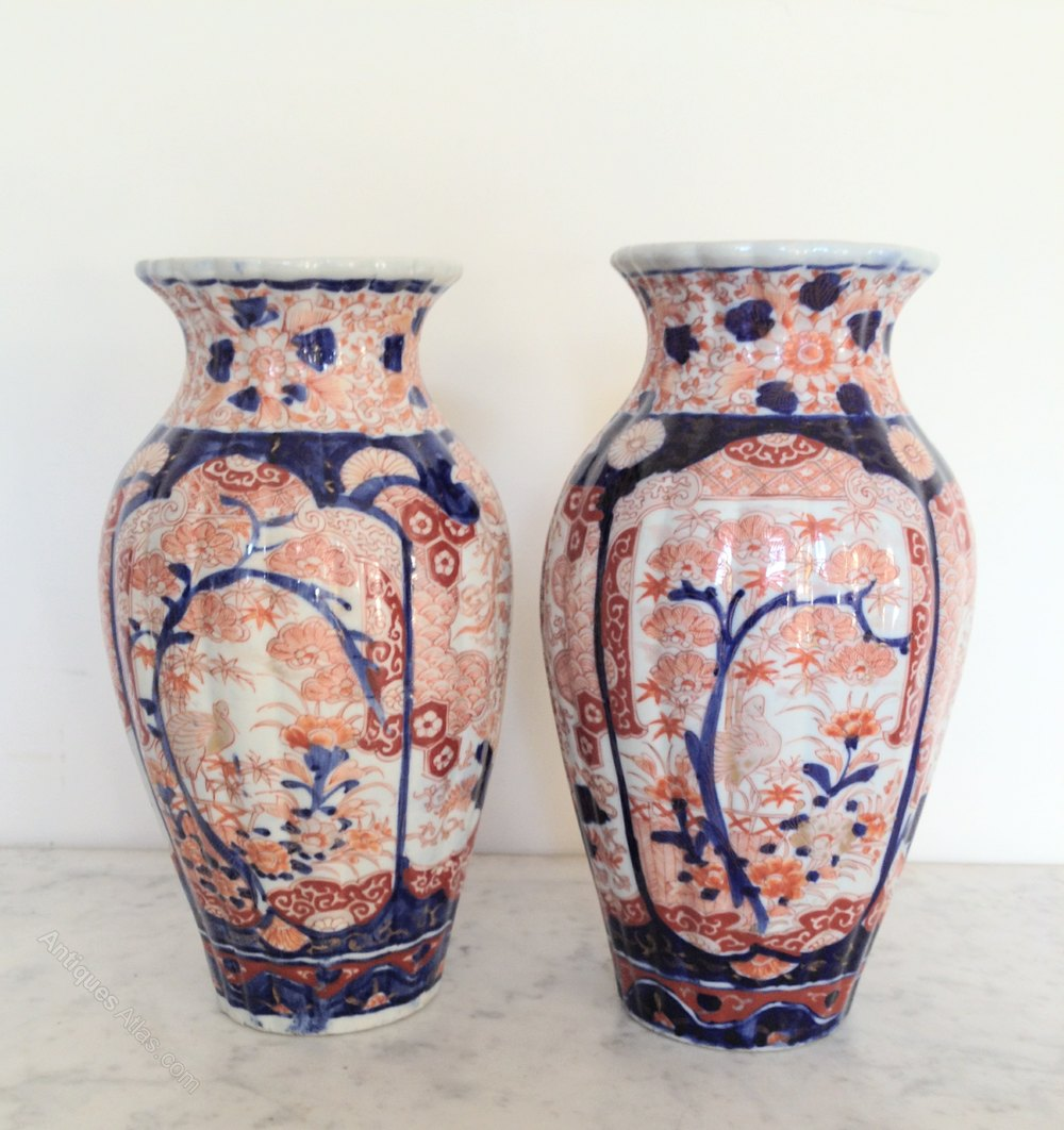 Antiques atlas pair of imari vases pair of imari vases antique oriental vases meiji imari reviewsmspy