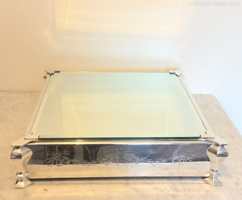 Antiques Atlas - Silver Plate Mirrored Top Wedding Cake Stand