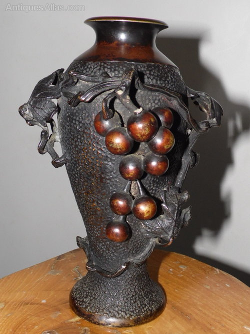 Antiques Atlas Japanese Arts Crafts Hammered Bronze Vase