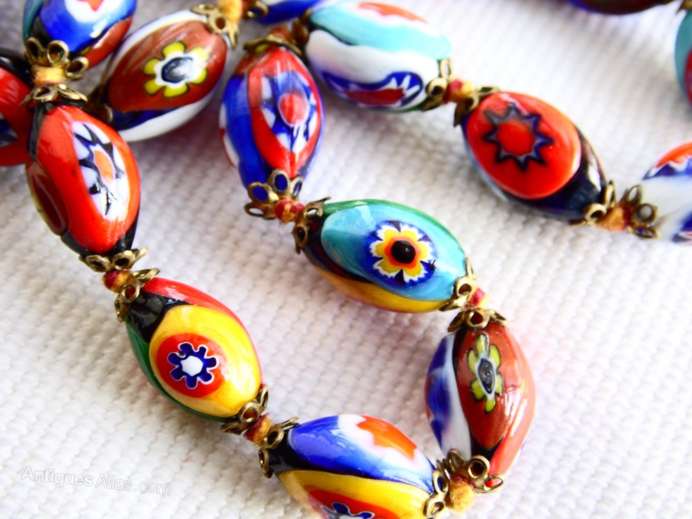 Antiques Atlas Vintage Millefiori Venetian Glass Bead Necklace