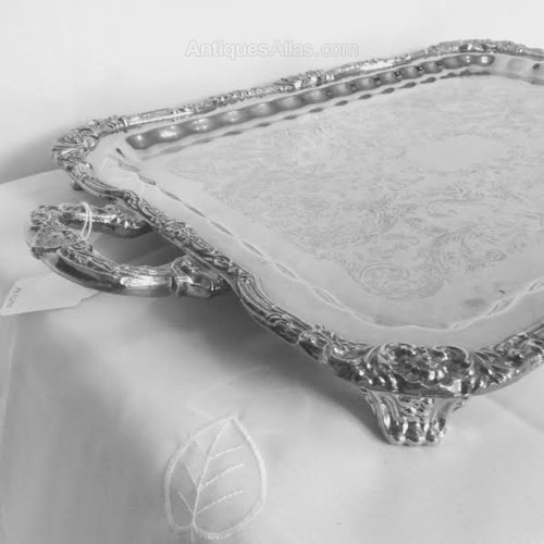 Silver Plated Tray on feet Antique Silver Plated Trays : antique silver plated trays - pezcame.com