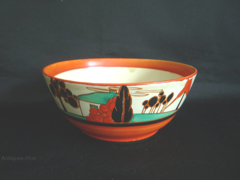 Antiques Atlas Clarice Cliff Art Deco Trees And House Fruit Bowl