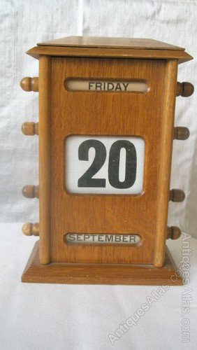 Charming 20th Century Perpetual Wooden Desk Calendar ... Amazing Ideas