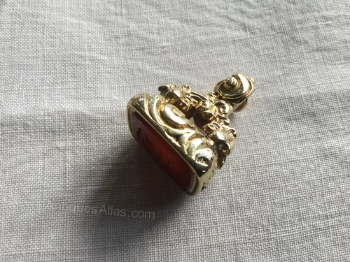 Antique Gold and Carnelian Watch Chain Fob