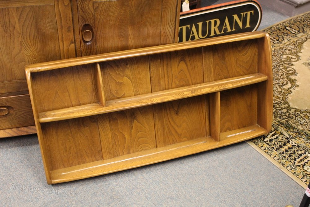 Ercol Wall Mounted Shelf Unit / Plate Rack ... & Antiques Atlas - Ercol Wall Mounted Shelf Unit / Plate Rack