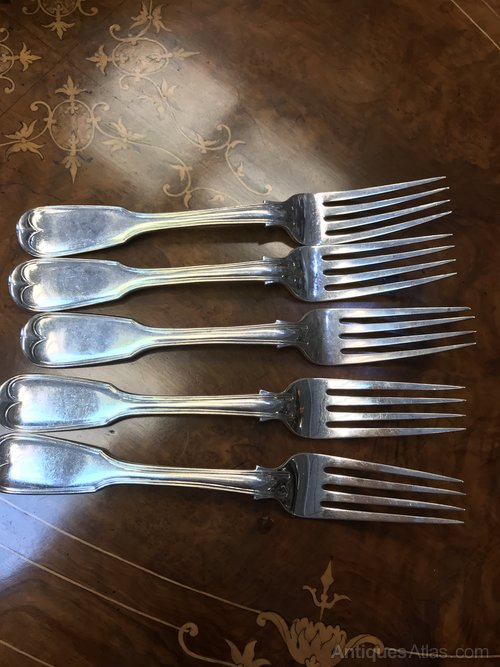 Set 5 solid silver Irish dinner forks c1850 James