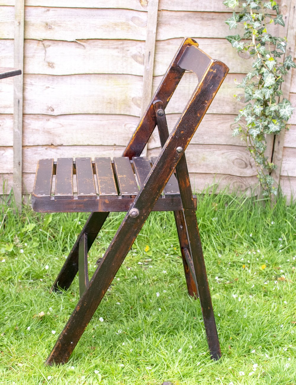 4 Vintage Wooden Naafi Folding Chairs