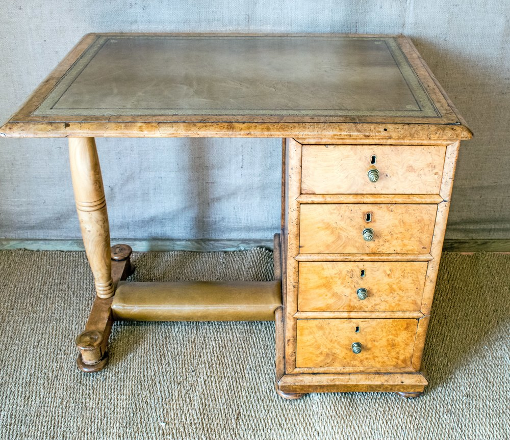 Antique Walnut Desk With Leather Top