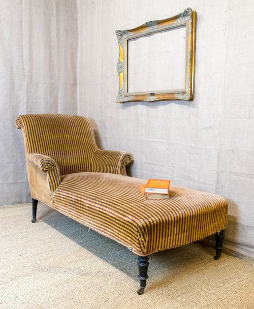 French chaise longue armchair style scroll arms for Antique chaise longue for sale
