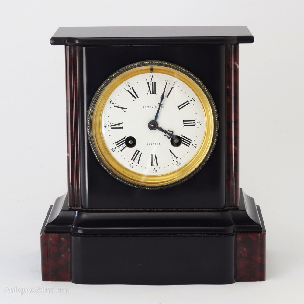 Antiques Atlas Black Slate Amp Marble Mantle Clock By