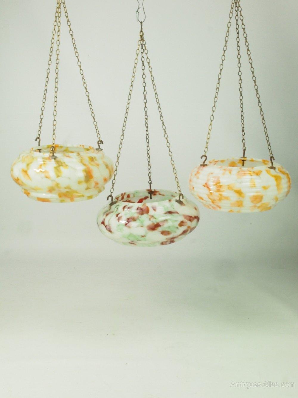 antiques atlas 3 vintage art deco glass ceiling light shades