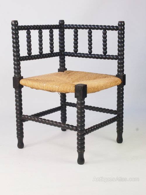 Antique arts crafts bobbin turned corner chair for Vintage furniture dealers