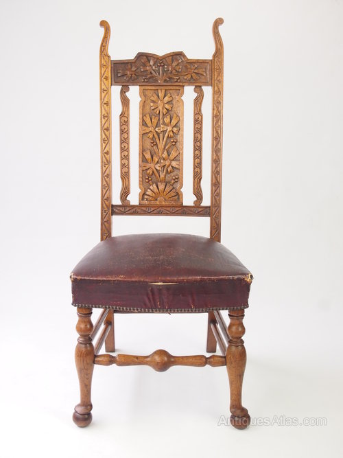 Antique Carved Oak High Back Chair Hall Chair Antiques Atlas