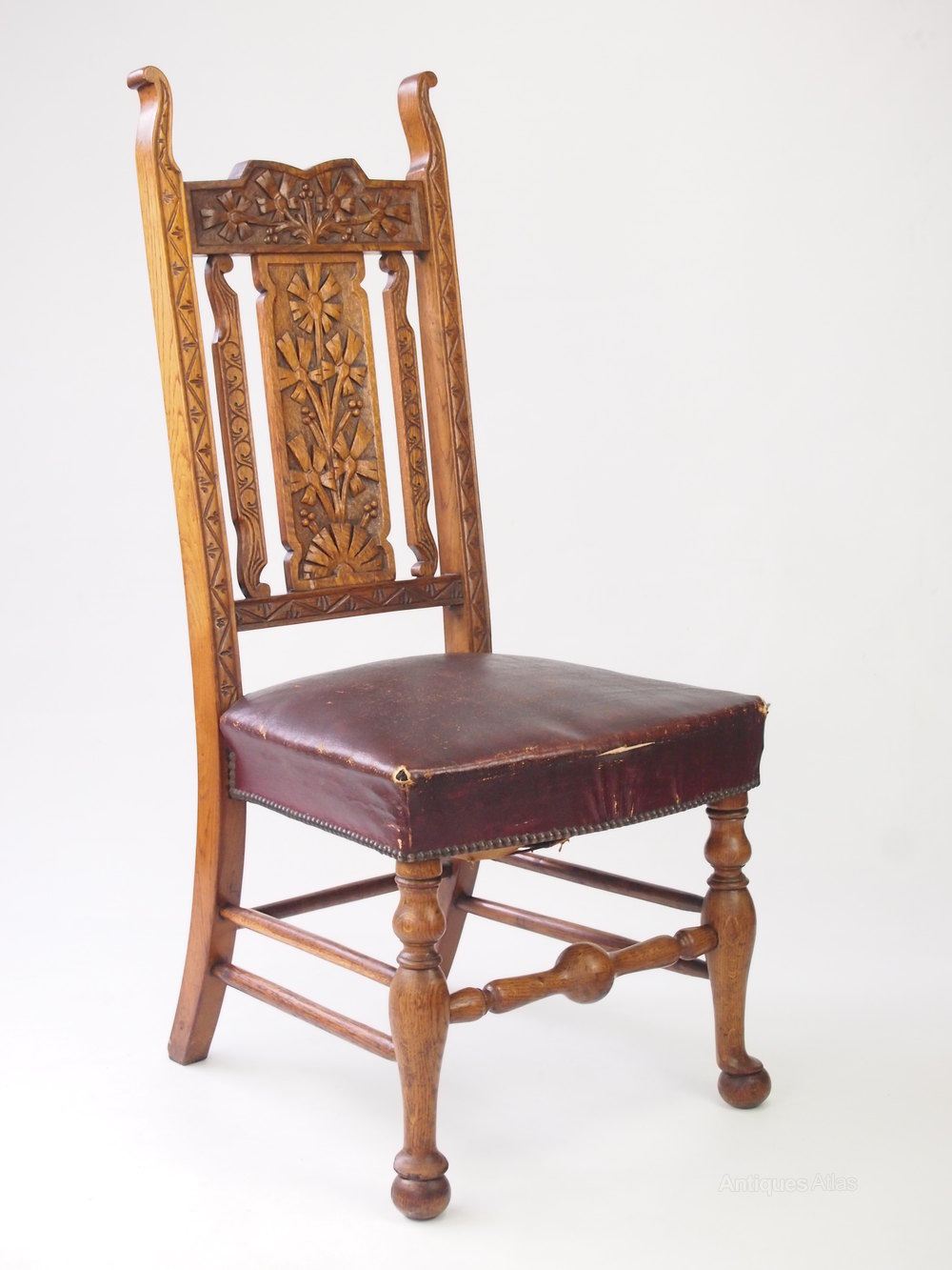 Antique Carved Oak High Back Chair Hall Chair Antique Hall Chairs ... - Antique Carved Oak High Back Chair Hall Chair - Antiques Atlas