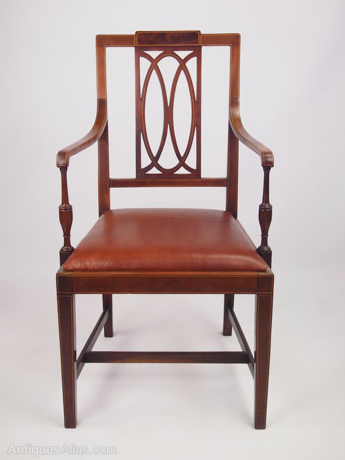 Antique Edwardian Desk Chair With Leather Seat ...