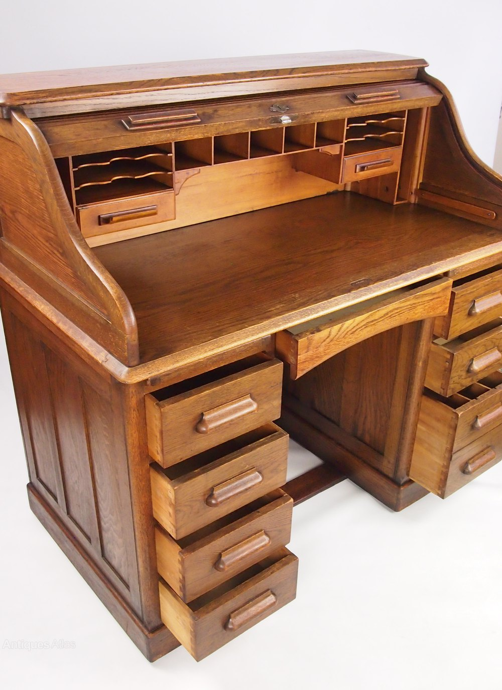 Photos Antique Oak Roll Top Bureau Desk By Lebus