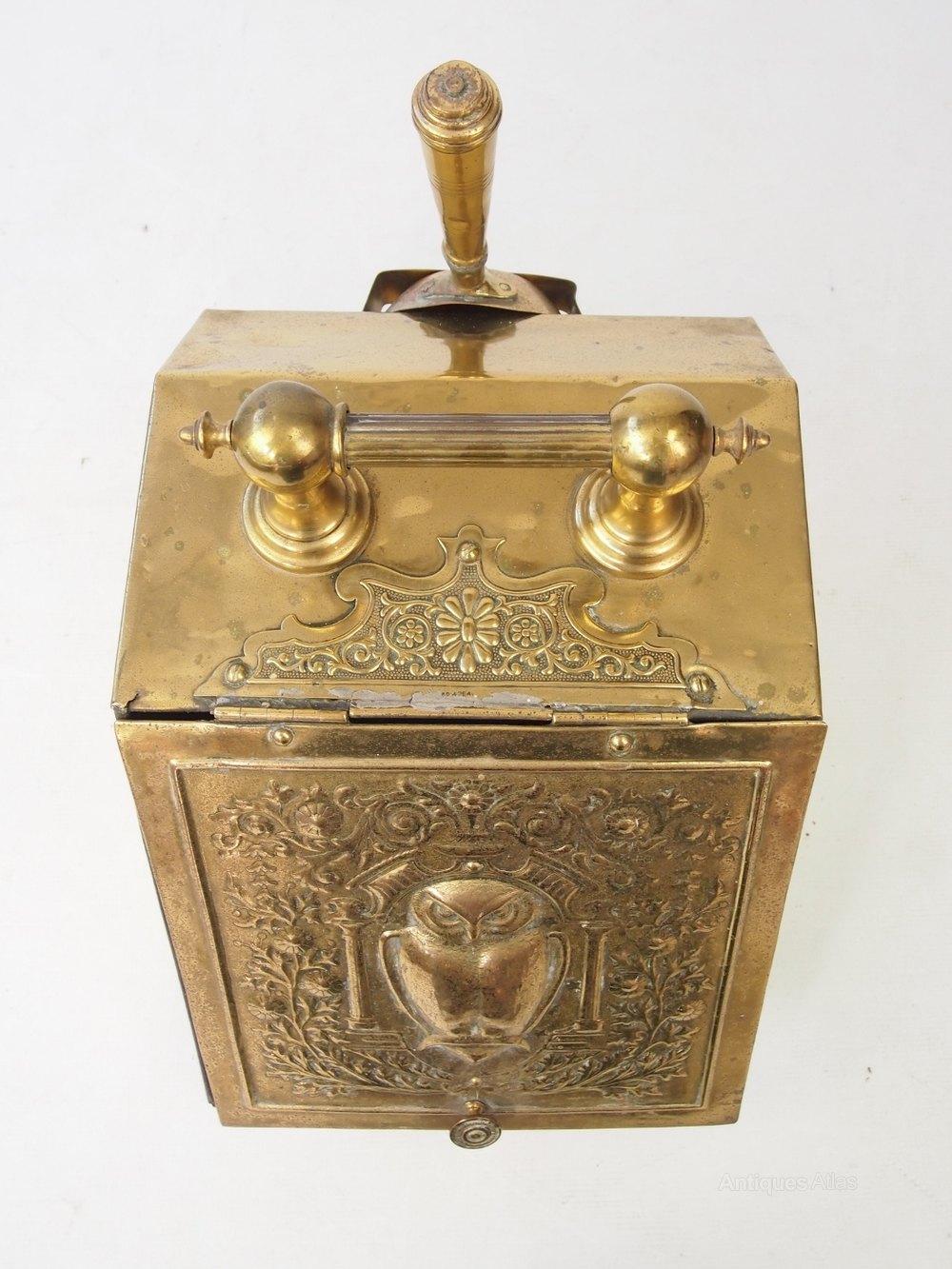 Antiques Atlas - Arts & Crafts Brass Coal Scuttle Or Log Bin