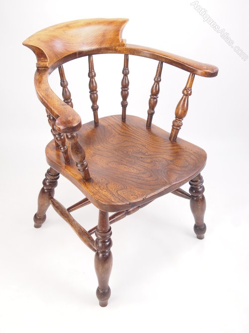 Elm Smokers Bow Captains Desk Chair Dated 1906 Antique Captains Chairs ...
