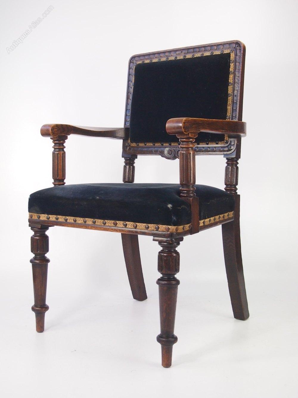Gentlemans Edwardian Oak Armchair Or Desk Chair Antiques