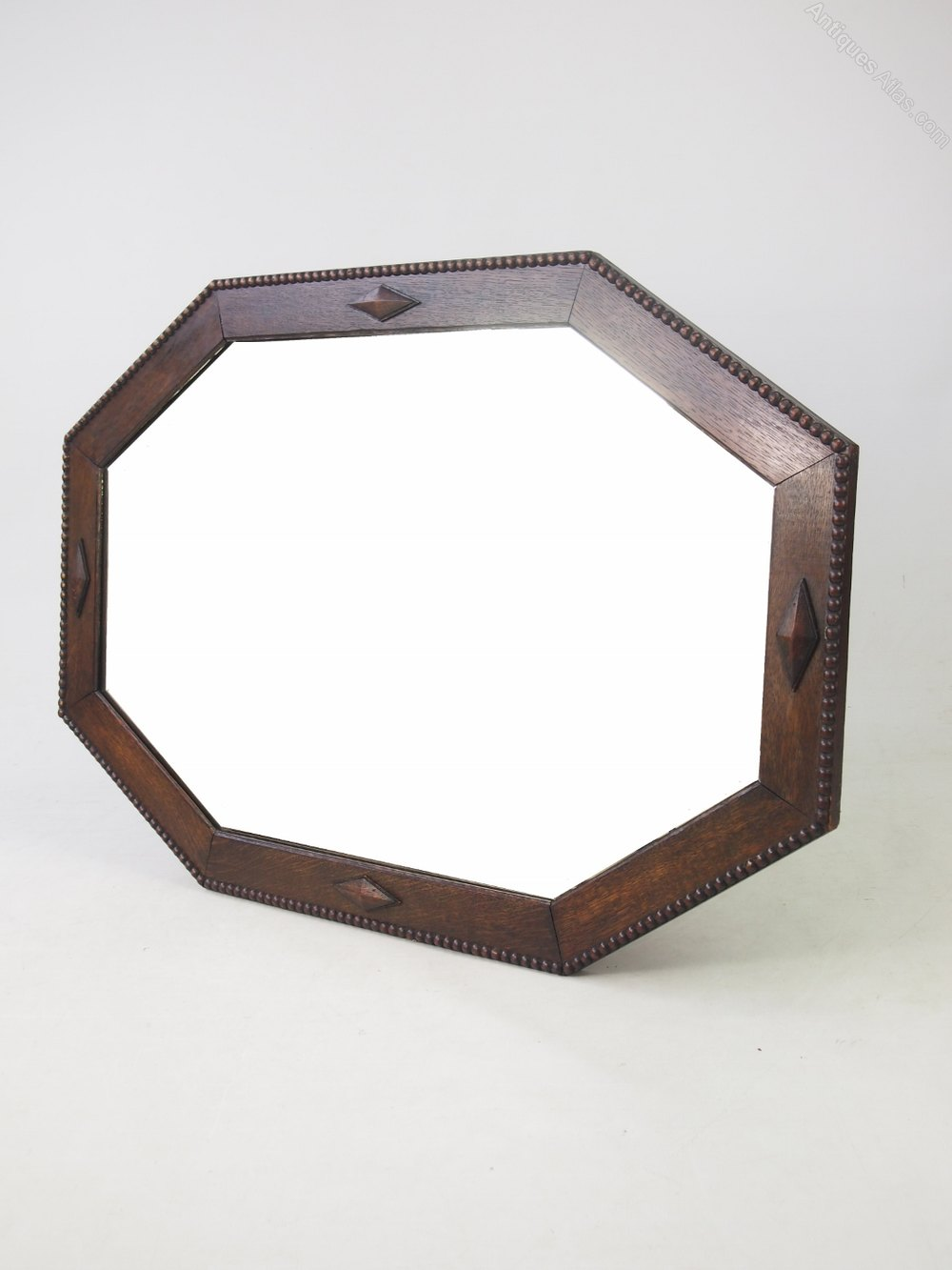 Antiques atlas large octagonal oak framed mirror or for Overmantle mirror
