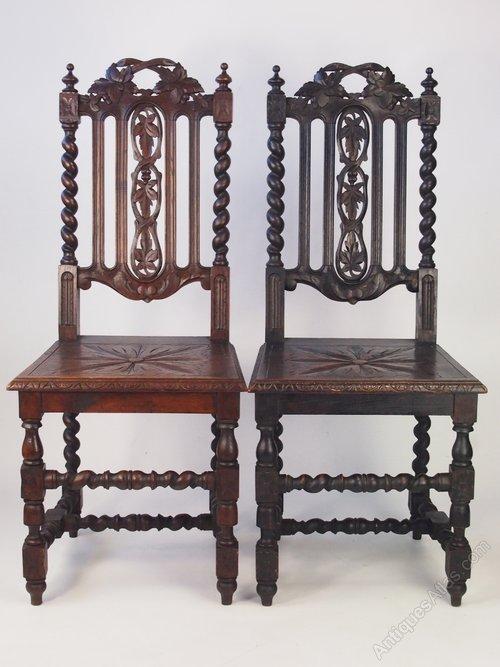 - Pair Antique Victorian Gothic Oak Hall Chairs - Antiques Atlas