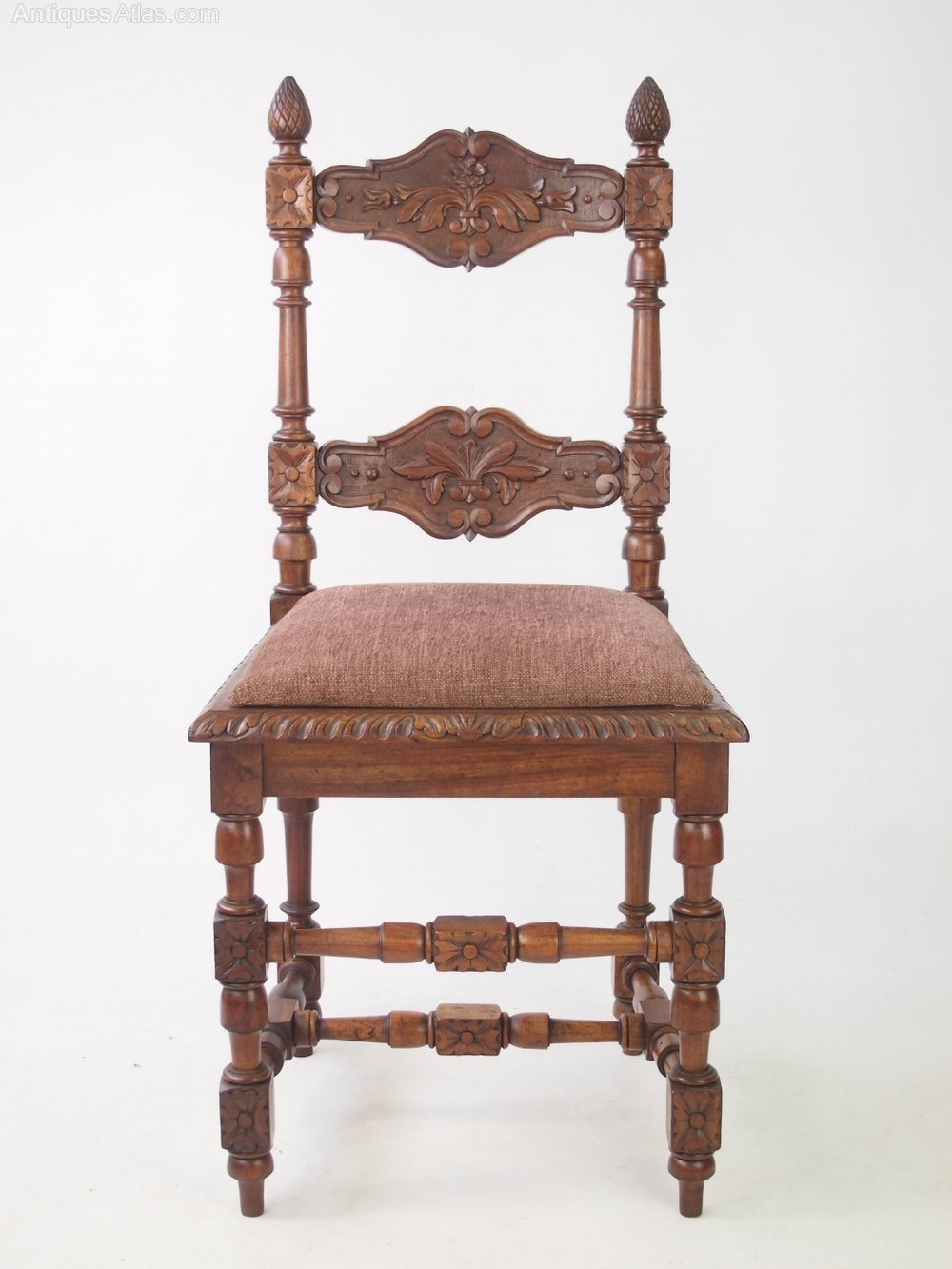 pair antique walnut chairs with acorn finials antiques atlas