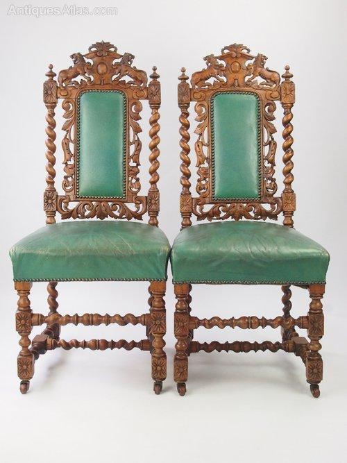 Superieur Pair Victorian Oak Gothic Revival Chairs ...