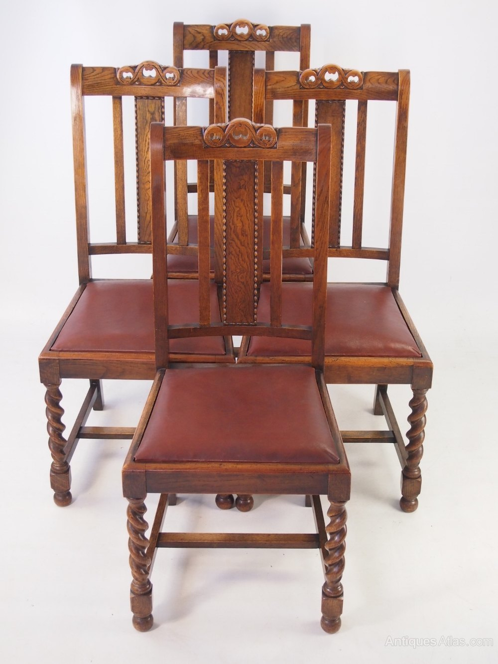 Set 4 Vintage Oak Dining Chairs Circa 1920s ...
