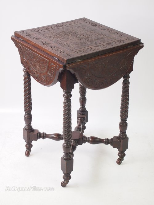 Small Antique Victorian Carved Gothic Oak Table