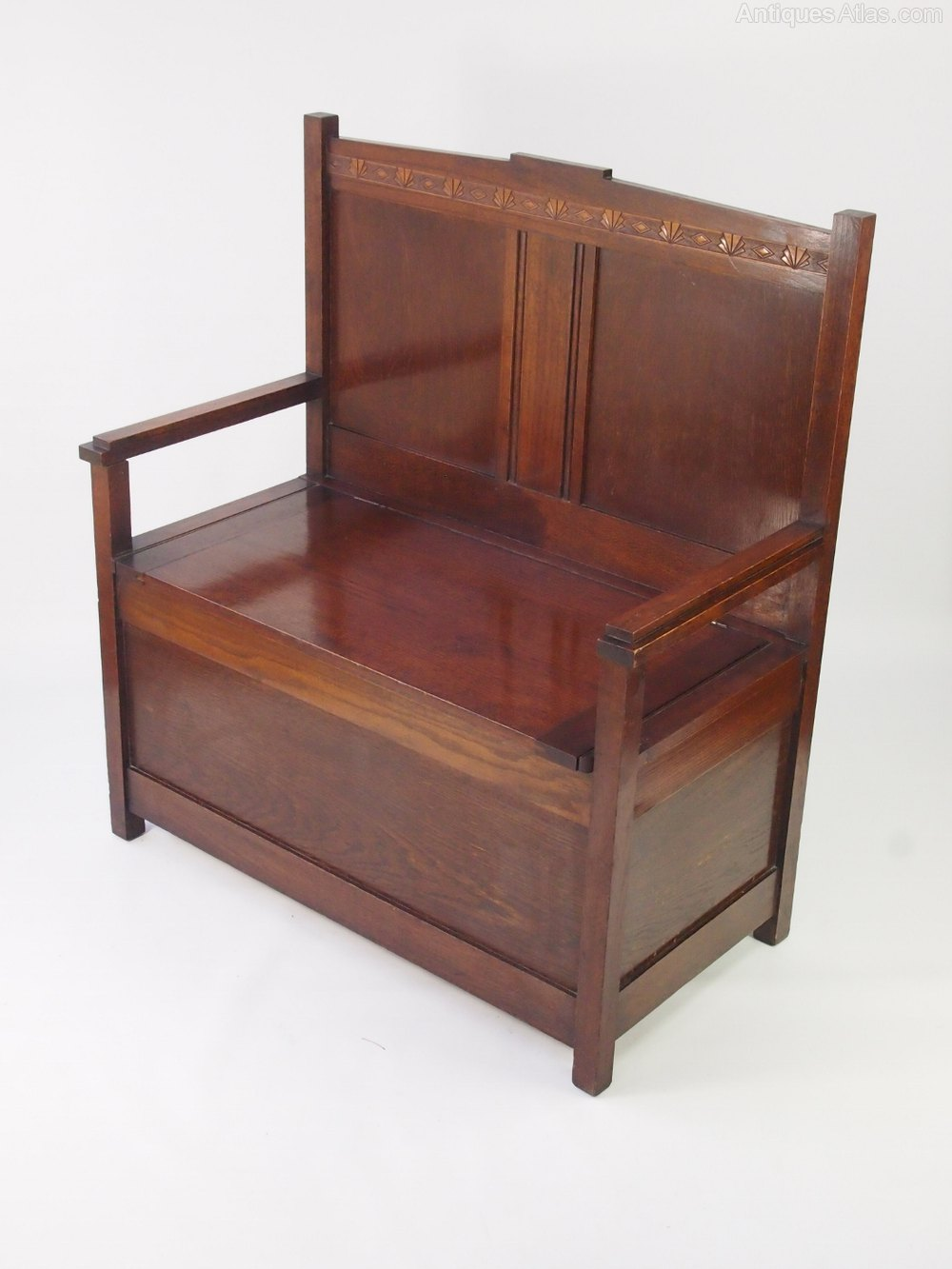 Small Art Deco Oak Box Settle Hall Bench Seat Antiques Atlas