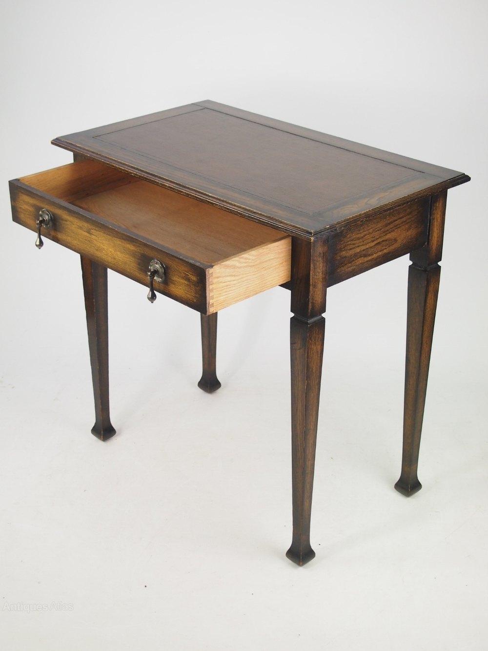 Small Edwardian Arts Crafts Oak Writing Desk Antique Desks