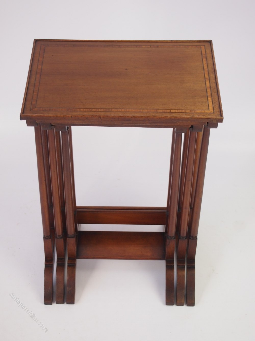 Small edwardian inlaid mahogany nest of tables antiques for Small nest of tables