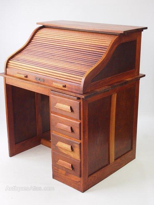 - Small Oak Roll Top Desk - Bureau - Antiques Atlas
