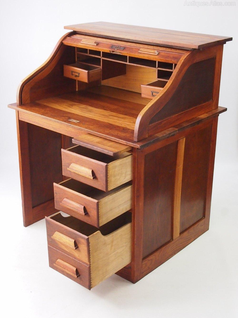 Small Oak Roll Top Desk Bureau