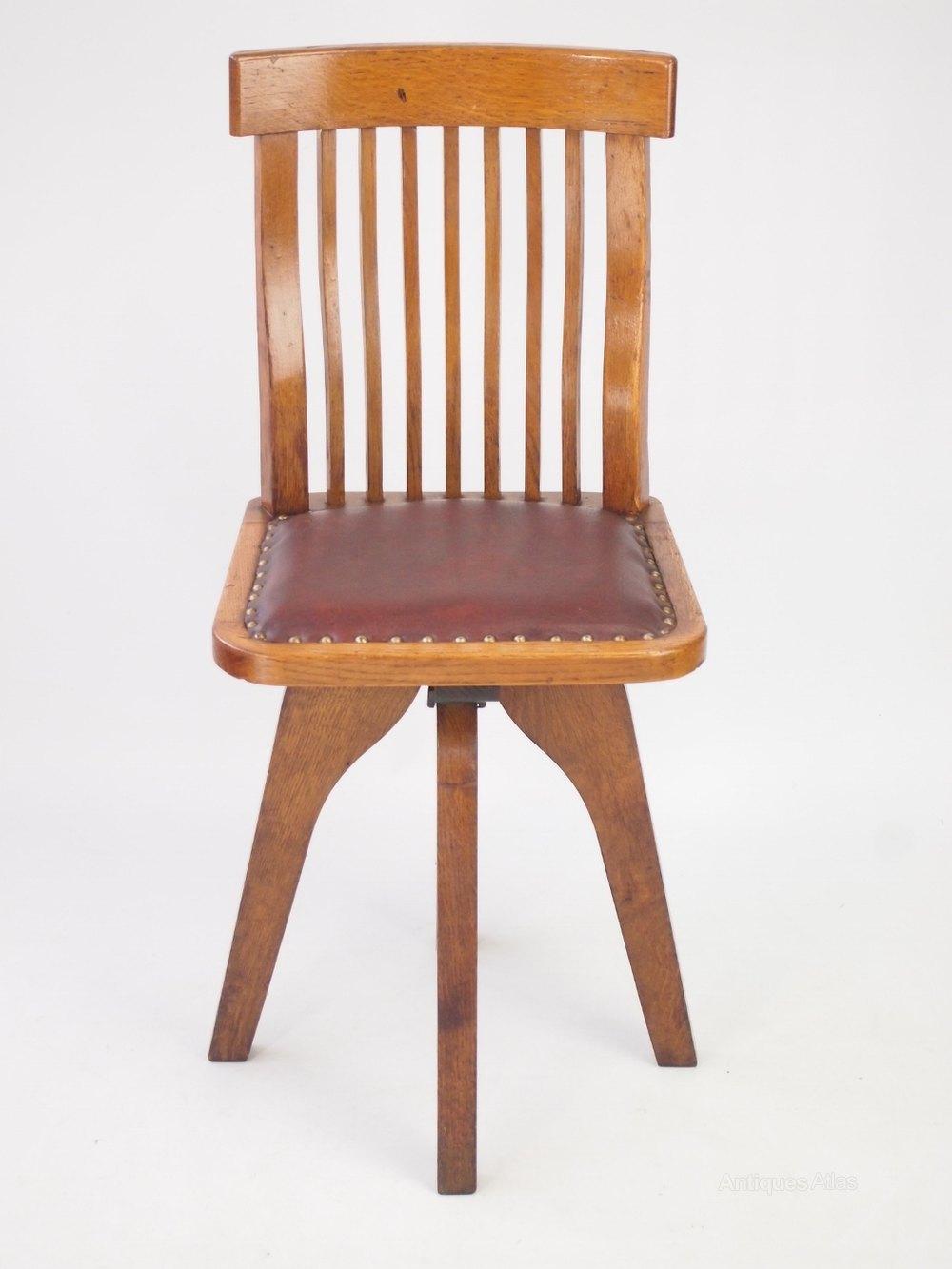 Small Oak Swivel Desk Chair