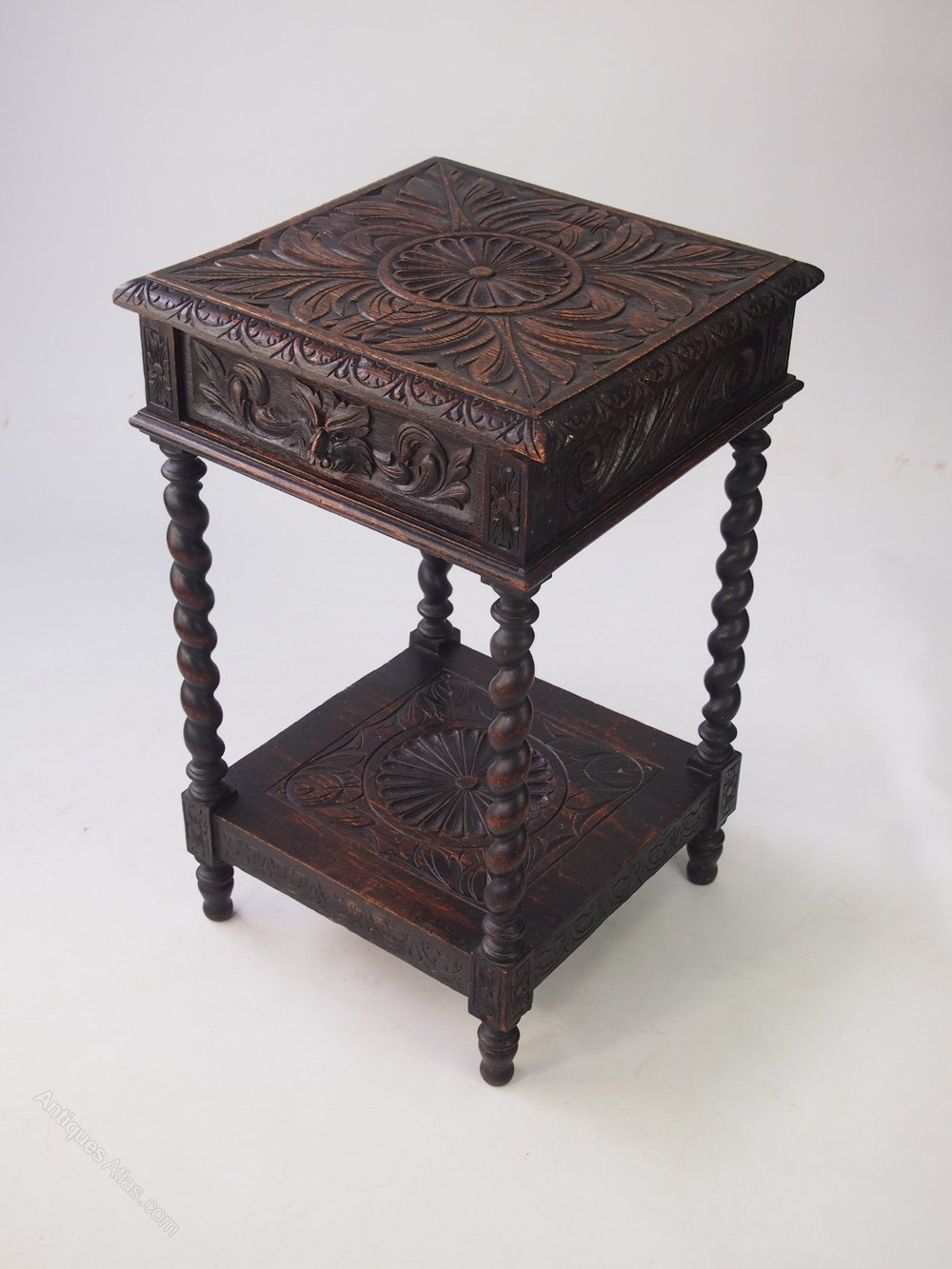 Small Victorian Gothic Revival Oak Side Table ...