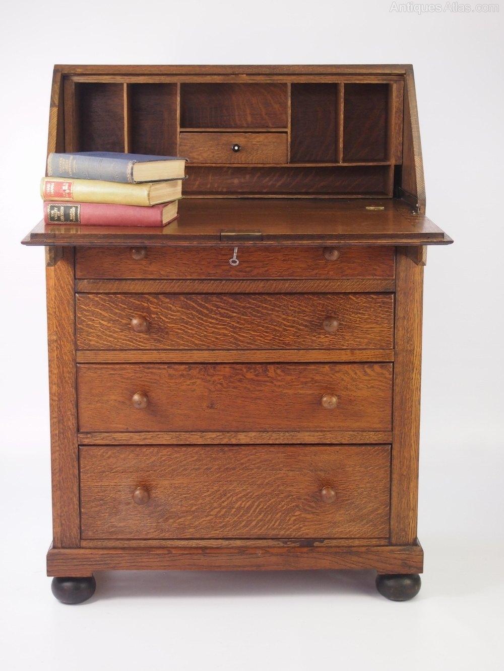 Small Vintage Oak Bureau Antique Bureaus