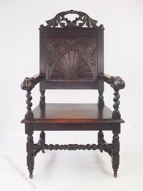 Victorian Gothic Oak Throne Chair Wainscot Chair
