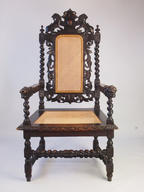 Victorian Gothic Revival Armchair Throne Chair